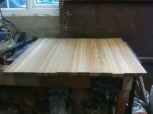 planks glued together for table top