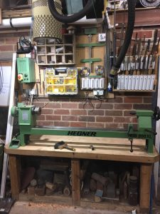 wood lathe, all tidy and ready for the next project